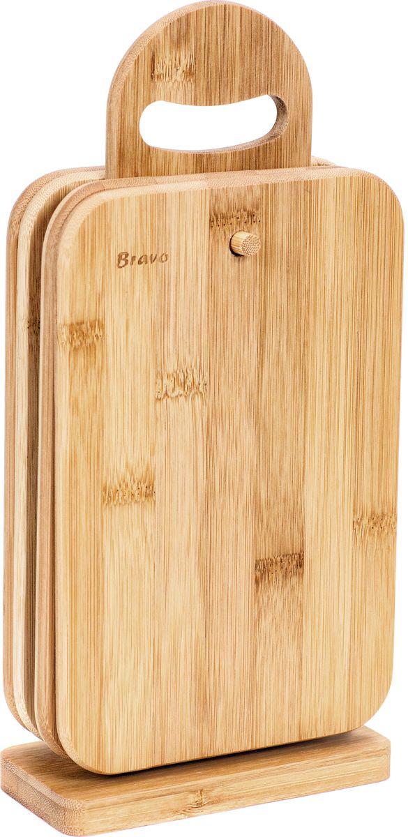 Набор разделочных досок Bravo, на подставке, цвет: коричневый, бежевый, 5 предметов набор для кухни pasta grande 1126804