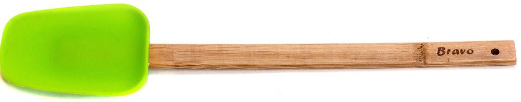 Ложка кулинарная Bravo, с ручкой, цвет: коричневый, бежевый, 30 х 6 см163Незаменима для работы с посудой, имеющей керамическое или тефлоновое покрытие, так как не повреждает антипригарное покрытие. Рабочая часть изготовлена из пластичного силикона, устойчивого к высоким температурам. Лопатка не деформируется при эксплуатации, и к ней не прилипают продукты, поэтому ею очень удобно переворачивать, помешивать и извлекать любое блюдо. Силиконовой лопаткой также можно разрезать мягкие запеканки или пироги, покрывать готовые кексы глазурью или промазывать коржи перед выпеканием.
