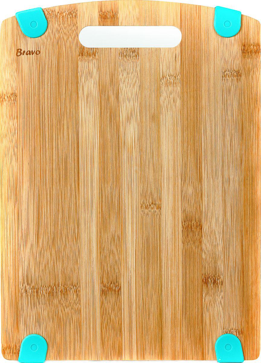 Доска разделочная Bravo, с силиконовой вставкой, цвет: коричневый, бежевый, 33 х 24 х 1,2 см игрушка triol столбик и туннель цвет кремовый коричневый 24 х 21 х 23 см
