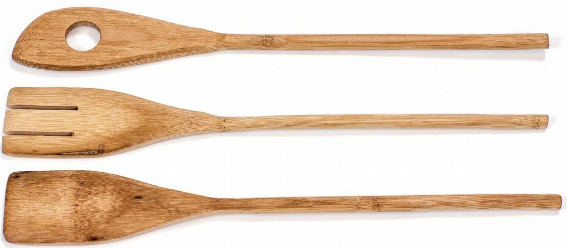 Набор кухонных принадлежностей: лопатка, вилка, лопатка с отверстием.