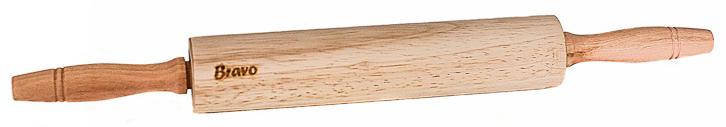 Скалка Bravo, с вращающимися ручками, цвет: коричневый, бежевый, 38 х 4 см369Скалка 38х4см с вращающимися ручками, гевея.