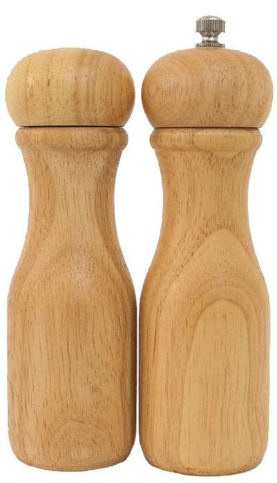 Набор для специй Bravo, цвет: коричневый, бежевый, 5 х 5 х 16 см, 2 предмета351Солонка и мельница для перца выполнены из гевеи, устойчивой к влаге, поэтому соль и перец при хранении не будут впитывать влагу. Мельница для перца позволяет в любое время получать свежемолотый перец, который в отличие от уже измельченного перца, купленного в магазине, не теряет аромат и вкусовые качества.