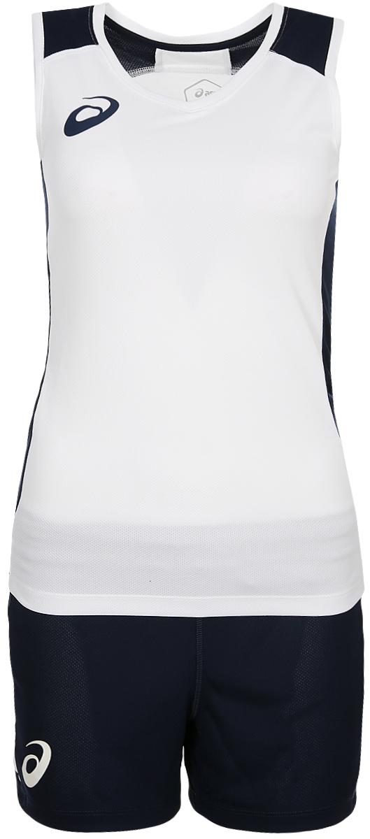 Костюм спортивный женский Asics Woman Sleeveless Set: майка, шорты, цвет: белый, синий. 156861-0001. Размер XXL (52)