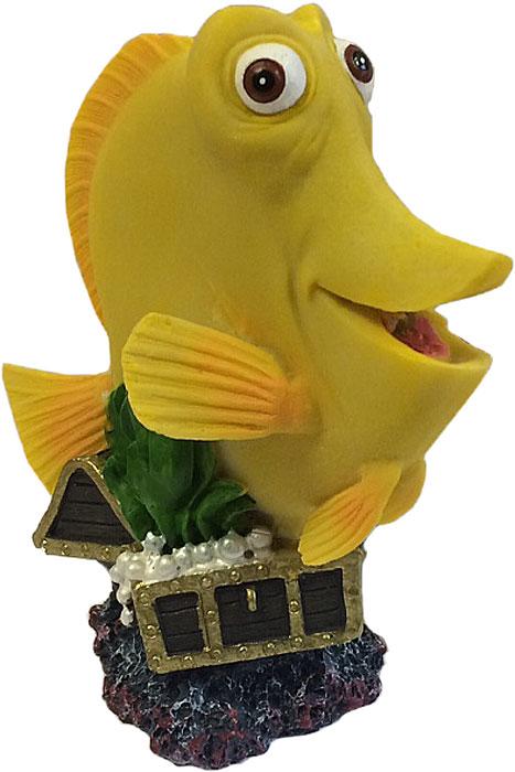 Декорация-распылитель для аквариума Meijing Aquarium Рыбка Желтый х ирург, 9,5 х 5,2 х 10,7 см декорация для аквариума meijing aquarium угольная черепа х а 10 х 6 5 х 5 см