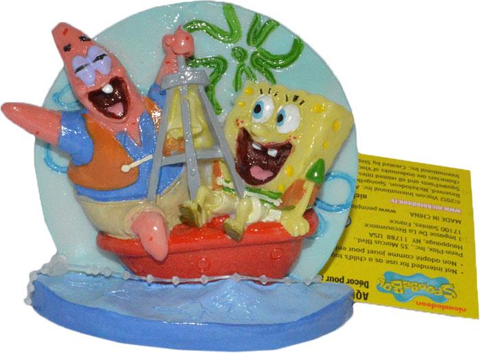 Декорация для аквариума Penn-Plax Губка Боб и Патрик на буйке, 7,6 см penn plax камень для птиц минеральный banana page 9