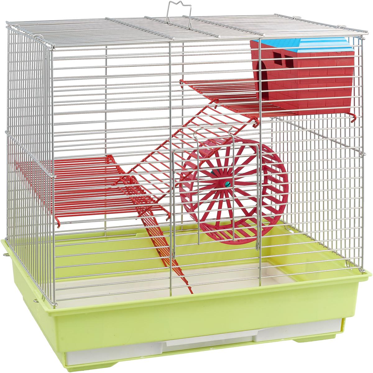 Клетка для грызунов Велес Lusy 3, 3-этажная, разборная, цвет: салатовый, 42 х 42 х 30 см бар декоративный глобус цвет коричневый 42 х 42 х 85 см