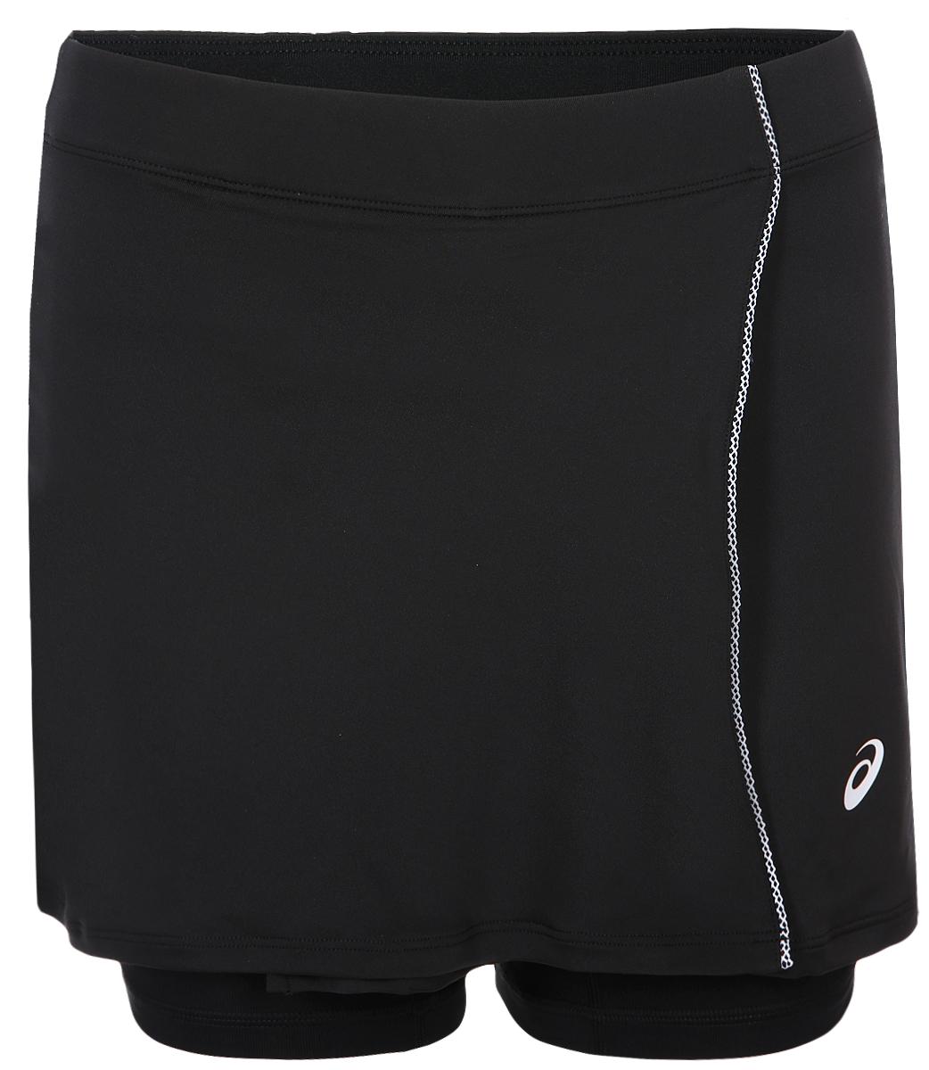 Мини-юбка для тенниса от Asics с внутренними шортами выполнена из полиэстера с добавлением спандекса. Модель с эластичной резинкой на талии.