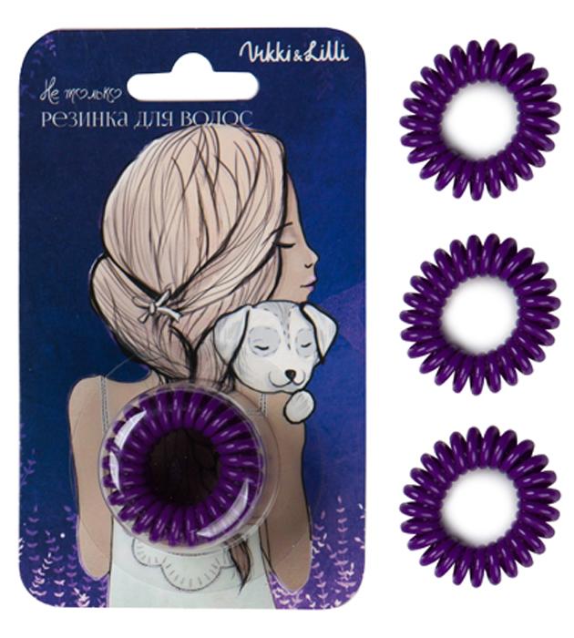 Vikki&Lilli Резинка для волос, цвет: фиолетовый, 3 шт000010Vikki&Lilli - самая заботливая резинка для волос в форме пружинки. Эта резинка устроена так, что не повреждает волосы, не заламывает и не рвет их. Она влагостойкая, с ней можно ходить в бассейн, сауну, заниматься спортом, ее можно применять как стильный браслет.