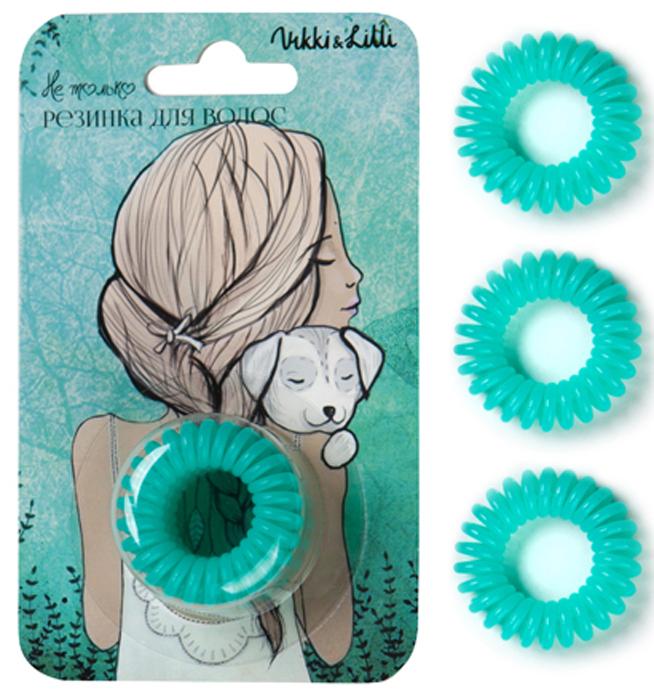 Vikki&Lilli Резинка для волос, цвет: изумрудный, 3 шт000102Vikki&Lilli - самая заботливая резинка для волос в форме пружинки. Эта резинка устроена так, что не повреждает волосы, не заламывает и не рвет их. Она влагостойкая, с ней можно ходить в бассейн, сауну, заниматься спортом, ее можно применять как стильный браслет.