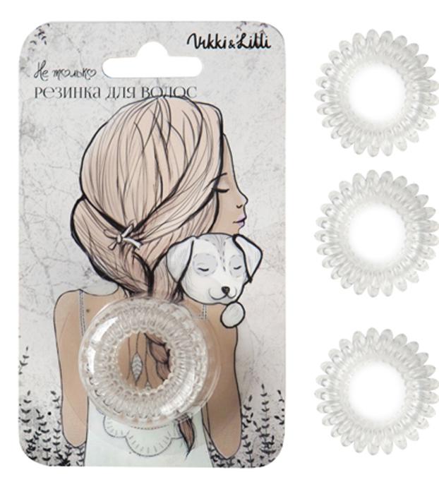 Vikki&Lilli Резинка для волос, цвет: прозрачный, 3 шт000126Vikki&Lilli - самая заботливая резинка для волос в форме пружинки. Эта резинка устроена так, что не повреждает волосы, не заламывает и не рвет их. Она влагостойкая, с ней можно ходить в бассейн, сауну, заниматься спортом, ее можно применять как стильный браслет.