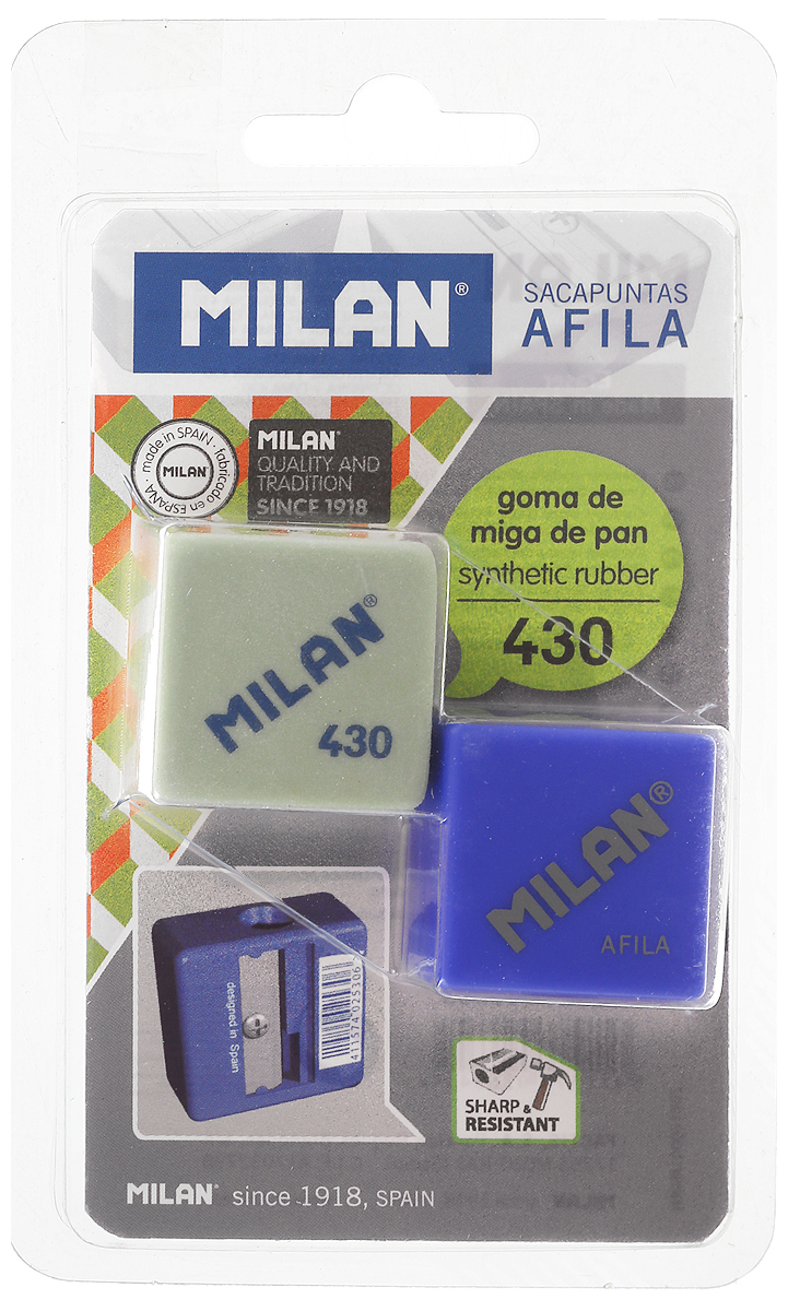 Milan Точилка Afila с ластиком цвет салатовый, синий канцелярия milan точилка пластиковая с ластиком stick