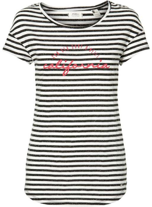 Футболка женская O'Neill Lw Stripe Script T-Shirt, цвет: черный, белый. 8A7323-1990. Размер XS (42/44) stripe panel raglan sleeve t shirt