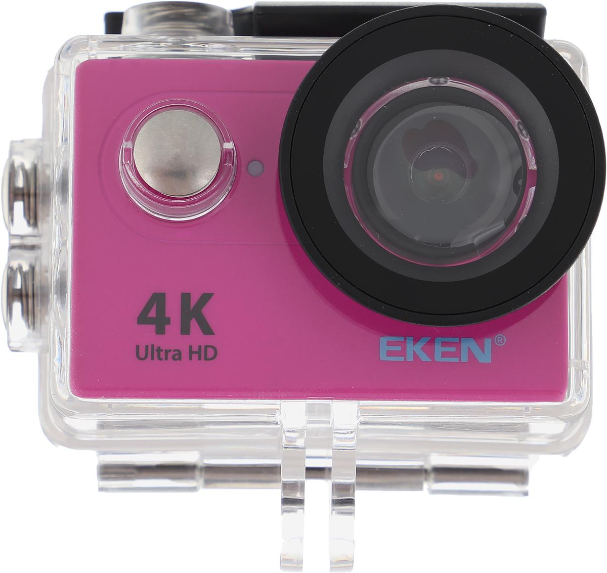 Eken H9R Ultra HD, Pink экшн-камераH9R PINKЭкшн-камера Eken H9R Ultra HD позволяет записывать видео с разрешением 4К и очень плавным изображением до 30 кадров в секунду. Камера оснащена 2 TFT LCD экраном. Эта модель сделана для любителей спорта на улице, подводного плавания, скейтбординга, скай-дайвинга, скалолазания, бега или охоты. Снимайте с руки, на велосипеде, в машине и где угодно. По сравнению с предыдущими версиями, в Eken H9R Ultra HD вы найдете уменьшенные размеры корпуса, увеличенный до 2-х дюймов экран, невероятную оптику и фантастическое разрешение изображения при съемке 30 кадров в секунду!Управляйте вашей H9R на своем смартфоне или планшете. Приложение Ez iCam App позволяет работать с браузером и наблюдать все то, что видит ваша камера. В комплекте с камерой идет пульт ДУ работающий на частоте 2,4 ГГц. Он позволяет начинать и заканчивать съемку удаленно. Как выбрать экшн-камеру. Статья OZON Гид
