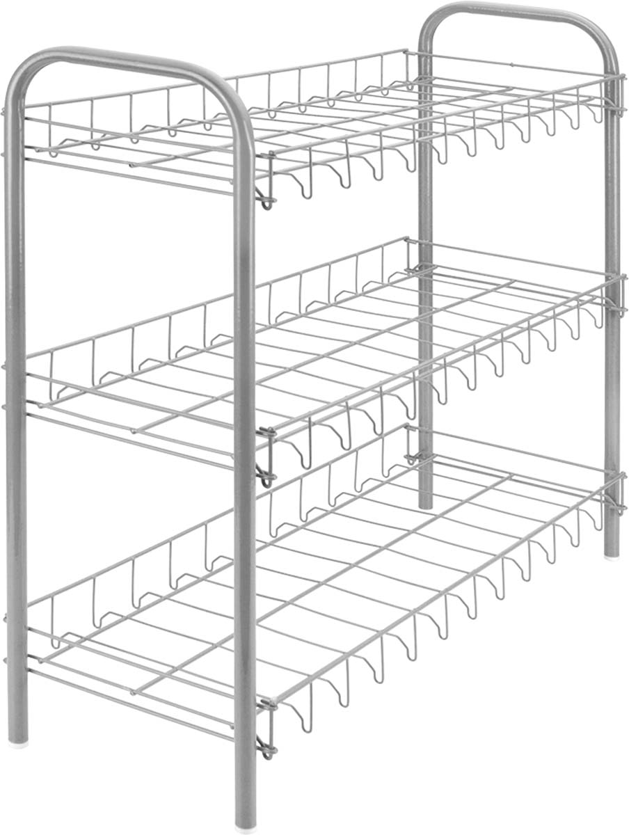 Подставка для обуви Metaltex, 3-уровневая, цвет: серый, 64 х 26 х 59 см шкаф на подставке 94 х 41 х 152 см