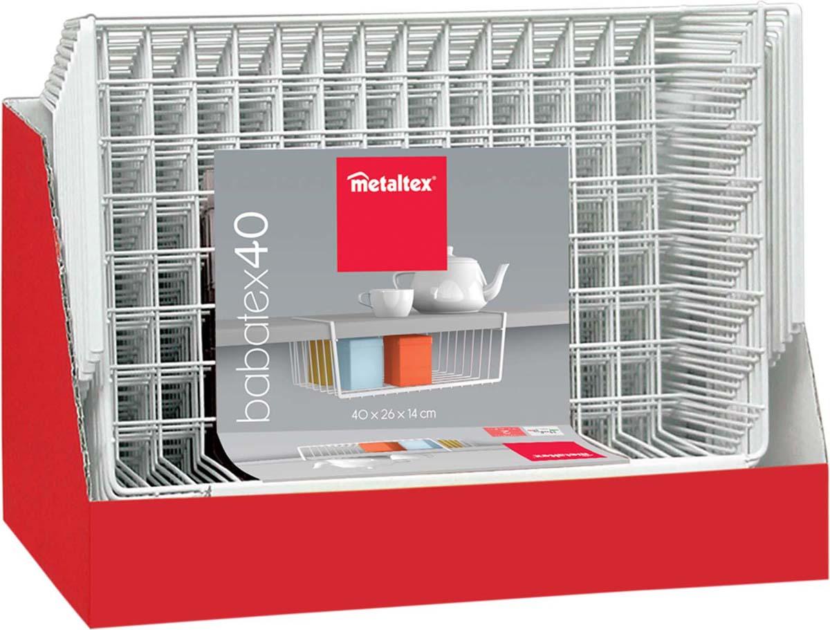 """Подвесная полка Metaltex """"Babatex"""", изготовленная из стали с полимерным покрытием, сэкономит место на вашей кухне или в ванной. Современный дизайн делает ее не только практичным, но и стильным домашним аксессуаром. Полка надежно крепиться к поверхности при помощи двух держателей. Такая полка пригодится для хранения различных кухонных или других принадлежностей, которые всегда будут под рукой и увеличит полезную площадь для хранения различных предметов."""