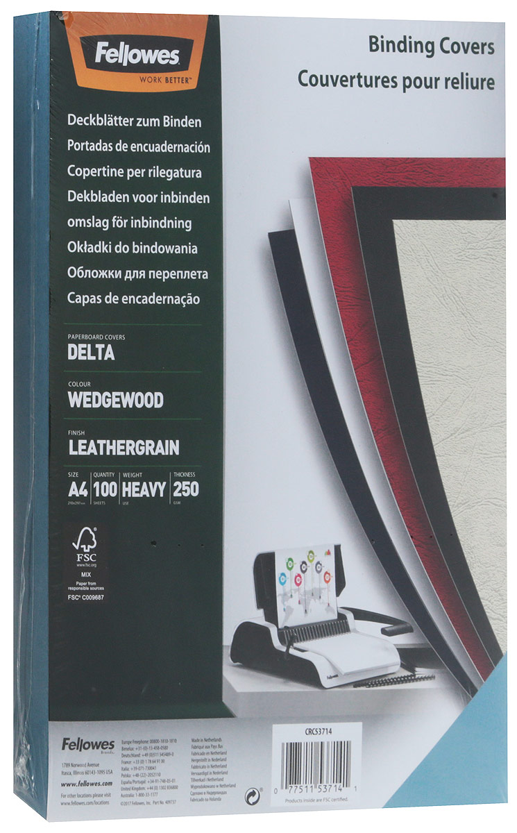 Fellowes Delta A4, Light Blue обложка для переплета (100 шт)FS-53714Обложка Delta предназначена для оформления документов. Обложка выполнена из картона 250гр/м., тиснением под кожу, 100шт. в розничной упаковке. Идеально подходит как для переплета на пластиковую, так и на металлическую пружины.