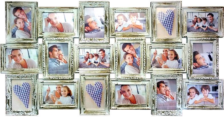 """Коллаж """"Platinum"""" выполнен в виде 18 соединенных между собой пластиковых рамок. предназначенных для размещения ваших любимых фотографий..Характеристики: Кол-во фотографий: 18Размер фотографии: 10 х 15 см Цвет: античный белый."""