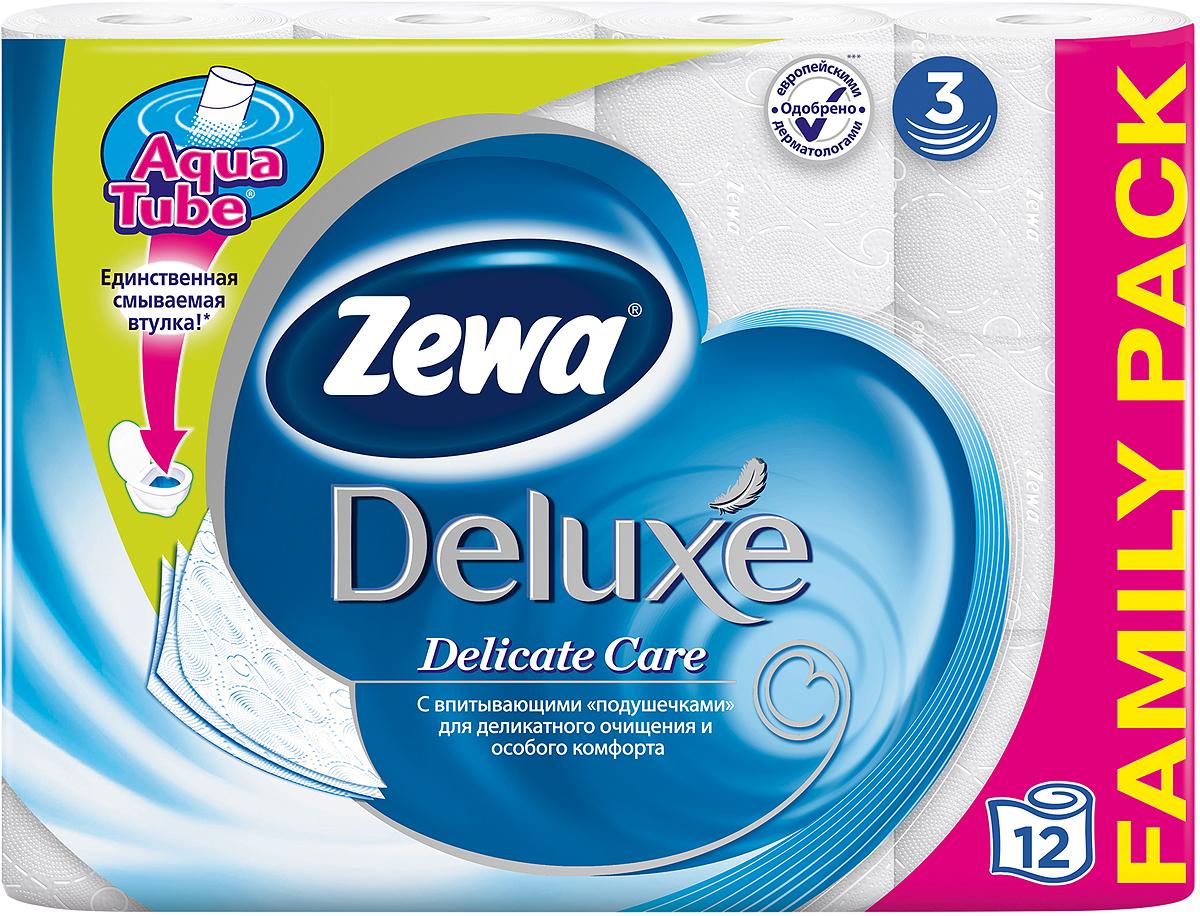 Белая трехслойная туалетная бумага без аромата, 12 рулонов в упаковке. Состав: целлюлоза.