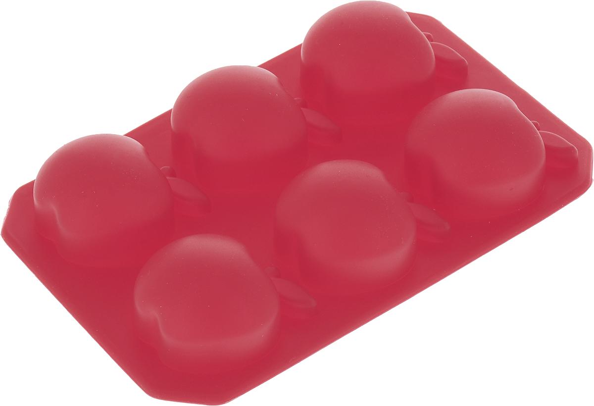 """Форма для льда и шоколада Доляна """"Яблоко"""", цвет: красный, 6 ячеек, 14 х 9 см"""