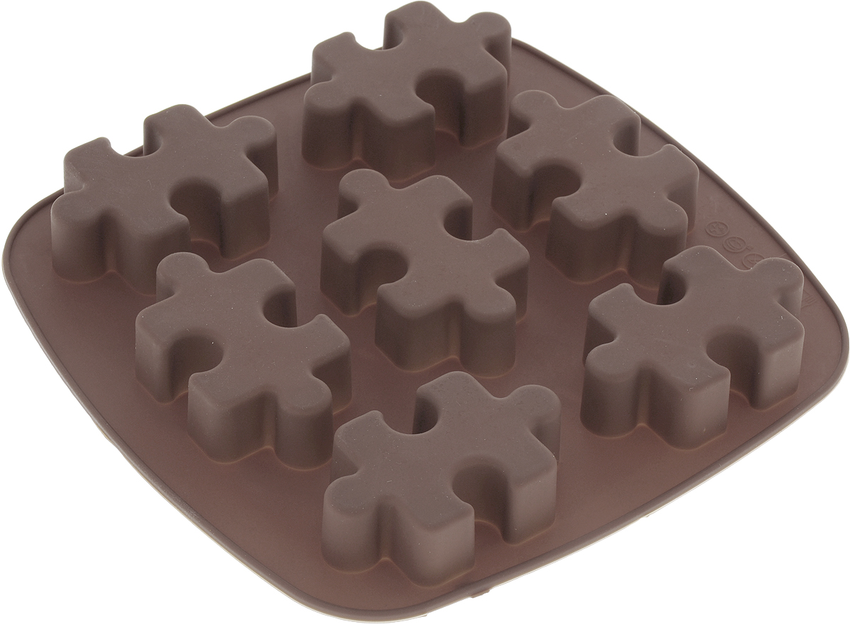 Форма для выпечки Доляна Пазлы, силиконовая, цвет: коричневый, 17 х 18 х 2 см, 7 ячеек ваза 17 х 13 5 х 20 см