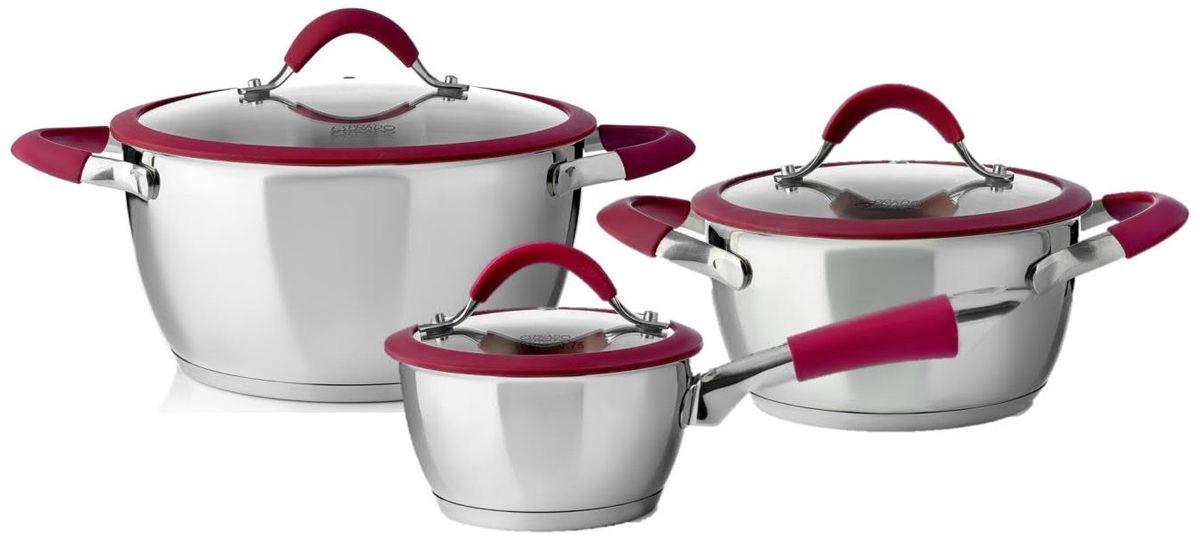 Набор посуды для приготовления из высококачественной нержавеющей стали станет незаменимым помощником на вашей кухне на долгие годы.В комплекте:ковш с крышкой 14*7,5 см \ 0,8 л,кастрюля с крышкой 18*9,5 см \ 2,1 л,кастрюля с крышкой 24*12 см \ 4,8 л..Материал: высококачественная нержавеющая сталь 18/10 Steelagen.Толщина стенок: 0,6 мм. Внутри матовая полировка с отметками литража для точного соблюдения рецепта, снаружи глянцевая полировка. Крышка из стекла с отверстием для выпуска пара и силиконовым ободком.Цвет силикона: бордо (pantone 7421C).Аксессуары: стальные ручки с силиконом; крепление - точечная сварка.Try-ply bottom - трехслойное капсулированное дно с термоаккумулирующей прослойкой из алюминия. Подходит для индукционных плит.Выгравированный логотип на крышке и на днеУпаковка: цветная картонная коробка, полиэтиленовый мешок, паспорт изделия А5.