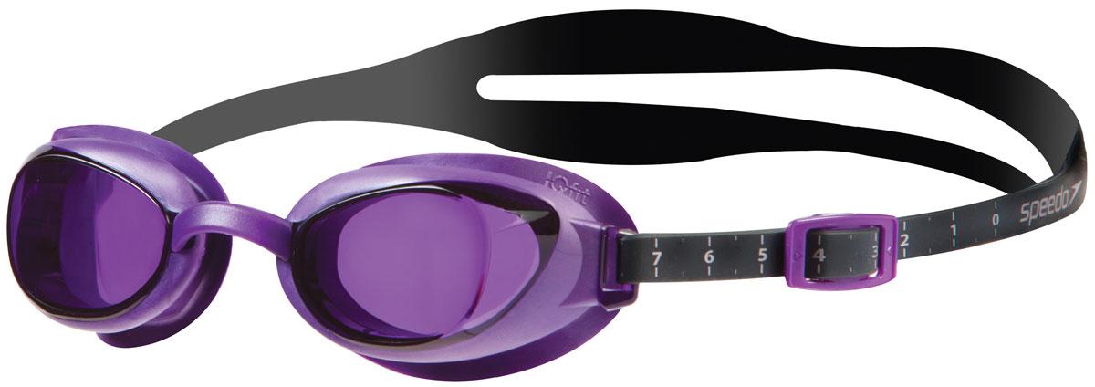 Очки для плавания Speedo Aquapure Optical Gog Af, цвет: серый, фиолетовый. -1.5 диоптрии8-09539B077Стильные очки для плавания Speedo Aquapure Optical Gog Af с технологией IQ FIT для оптимального комфорта. Специальная конструкция мягкого уплотнителя, учитывающего эргономику лица, минимизирует следы вокруг глаз после использования очков и обеспечивает плотное прилегание без протеканий воды. Конструкция очков предусматривает сменные носовые дужки для индивидуальной подстройки. Покрытие AntiFog препятствует запотеванию линз. Доступны линзы с разными диоптриями.