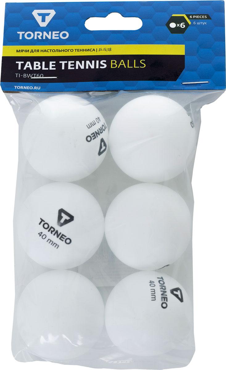 Набор мячей для настольного тенниса Torneo, цвет: белый, 6 шт набор мячей для настольного тенниса torneo 6 шт ti bcl200