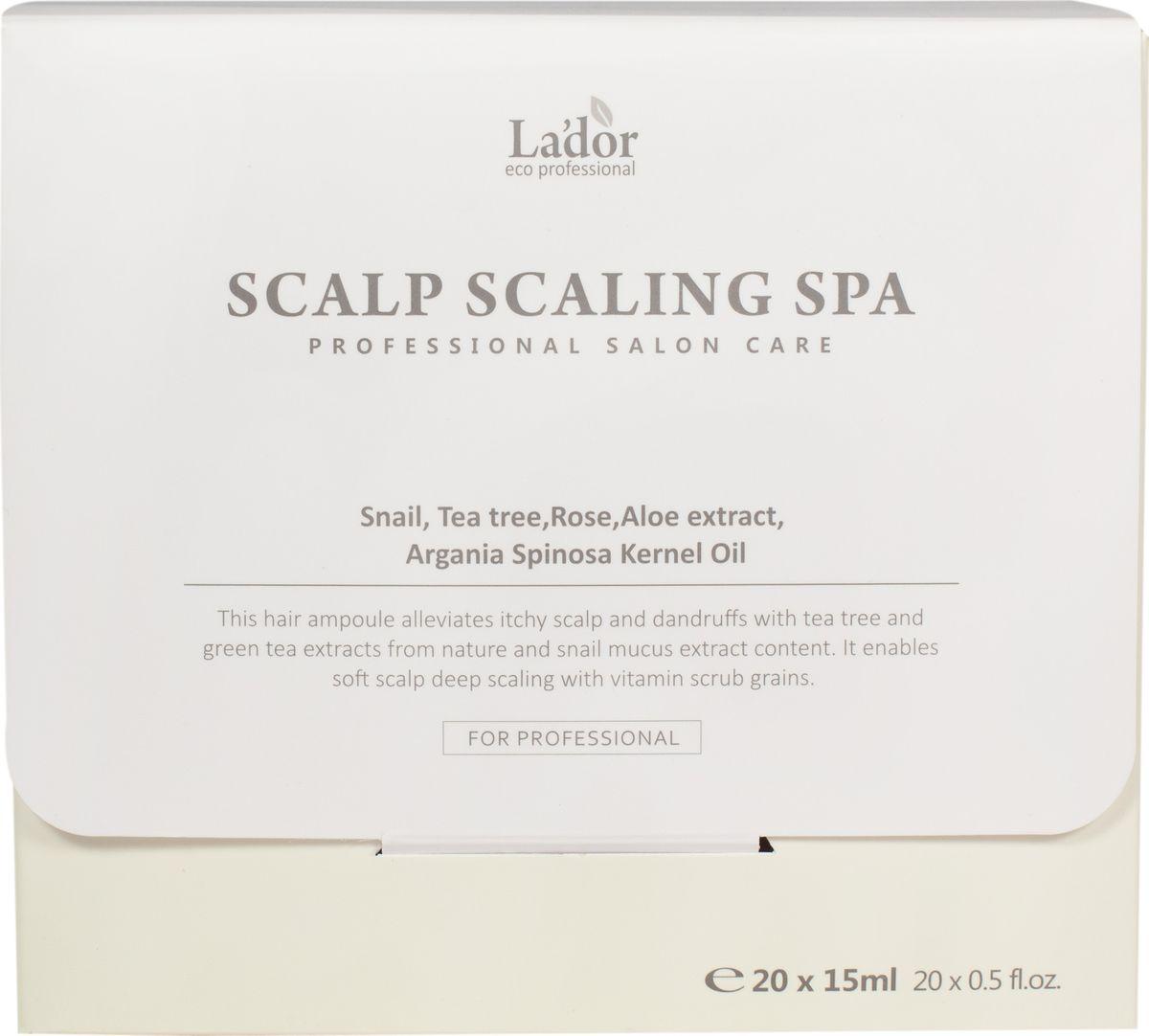 Lador Scalp Scaling Spa Аmpoule Очищающие ампулы для кожи головы, 15 мл x 20 шт8809500810568Компоненты этого пиллинга тщательно очищают кожу головы и корни волос, а так же питают, охлаждают и восстанавливают кожный покров.