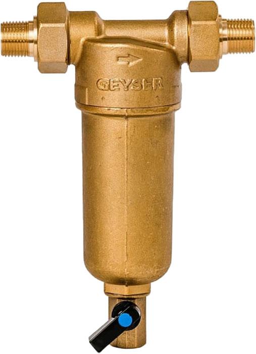 """Магистральный фильтр """"Гейзер Бастион 121"""" для холодной и горячей воды 1/2""""  Фильтр для предварительной очистки холодной и горячей воды от механических примесей - частиц ржавчины, волокон пеньки, песчинок, защиты сантехники, бытовой техники подключенной к водопроводу.  Фильтр имеет компактные размеры и спроектирован для монтажа в местах с ограниченным пространством; устанавливается на горизонтальном трубопроводе чашей вниз.  Изделие состоит из корпуса и промываемого картриджа. В обычном режиме вода проходит через сетчатый элемент к выпускному отверстию корпуса. Для осуществления промывки необходимо открыть шаровой клапан, выпускающий скопившиеся на дне чаши фильтра примеси; подача воды при этом не прерывается. Фильтр имеет большой запас прочности по максимальному рабочему давлению.  Сменная фильтрующая сетка изготовлена из нержавеющей стали и, при необходимости, заменяется на другую без демонтажа фильтра. В комплекте подключения имеется американка и фитинг 3/8 JG.   Технические характеристики:  Тип соединений: наружные резьбовые Присоединительный размер: 1/2"""" Диаметр фильтра: 60 мм Обратная промывка: нет Наличие манометра: нет Наличие редуктор давления: нет Наличие компенсатора: нет Пористость фильтра: 90 мкм. Рабочее давление: до 16 атм. Температура очищаемой воды: до 80 С Материал чаши фильтра: латунь Материал корпуса: латунь."""