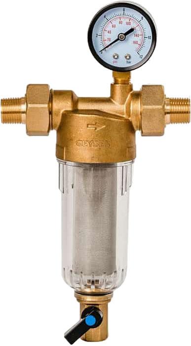 """Магистральный фильтр """"Гейзер Бастион 112"""" с манометром для холодной воды 1/2""""  Фильтр с манометром для предварительной очистки холодной воды от механических примесей - частиц ржавчины, волокон пеньки, песчинок, защиты сантехники, бытовой техники подключенной к водопроводу.  Фильтр имеет компактные размеры и спроектирован для монтажа в местах с ограниченным пространством; устанавливается на горизонтальном трубопроводе чашей вниз.  Изделие состоит из корпуса, манометра и промываемого картриджа. В обычном режиме вода проходит через сетчатый элемент к выпускному отверстию корпуса. Для осуществления промывки необходимо открыть шаровой клапан, выпускающий скопившиеся на дне чаши фильтра примеси; подача воды при этом не прерывается. Удобство слежения за степенью загрязнения фильтра обеспечивается прозрачностью его корпуса. Фильтр имеет большой запас прочности по максимальному рабочему давлению.  Сменная фильтрующая сетка изготовлена из нержавеющей стали и, при необходимости, заменяется на другую без демонтажа фильтра. В комплекте подключения имеется американка и фитинг 3/8 JG.   Технические характеристики:  Тип соединений: наружные резьбовые Присоединительный размер: 1/2"""" Диаметр фильтра: 60 мм. Обратная промывка: нет Наличие манометра: есть Наличие редуктор давления: нет Наличие компенсатора: нет Пористость фильтра: 90 мкм. Рабочее давление: до 16 атм. Температура очищаемой воды: до 30 С Материал чаши фильтра: латунь Материал корпуса: ударопрочный прозрачный синтетический материал"""