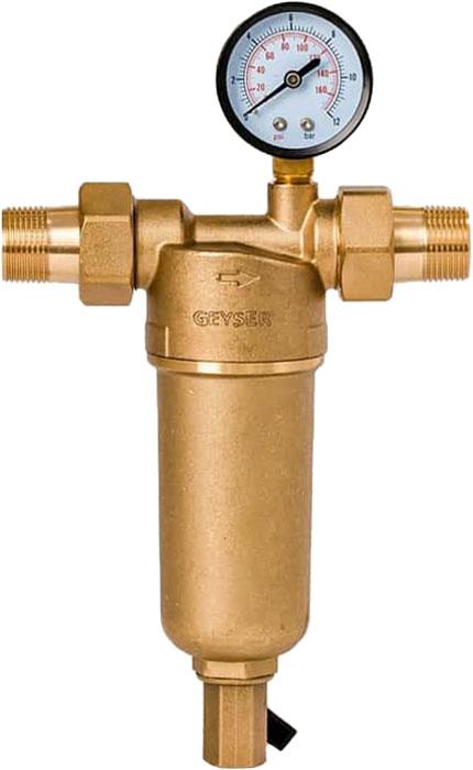 """Магистральный фильтр """"Гейзер Бастион 122"""" с манометром для холодной и горячей воды 3/4""""  Фильтр с манометром для предварительной очистки холодной и горячей воды от механических примесей - частиц ржавчины, волокон пеньки, песчинок, защиты сантехники, бытовой техники подключенной к водопроводу.  Фильтр имеет компактные размеры и спроектирован для монтажа в местах с ограниченным пространством; устанавливается на горизонтальном трубопроводе чашей вниз.  Изделие состоит из корпуса, манометра и промываемого картриджа. В обычном режиме вода проходит через сетчатый элемент к выпускному отверстию корпуса. Для осуществления промывки необходимо открыть шаровой клапан, выпускающий скопившиеся на дне чаши фильтра примеси; подача воды при этом не прерывается. Фильтр имеет большой запас прочности по максимальному рабочему давлению.  Сменная фильтрующая сетка изготовлена из нержавеющей стали и, при необходимости, заменяется на другую без демонтажа фильтра. В комплекте подключения имеется американка и фитинг 3/8 JG.   Технические характеристики:  Тип соединений: наружные резьбовые Присоединительный размер: 3/4"""" Диаметр фильтра: 60 мм Обратная промывка: нет Наличие манометра: есть Наличие редуктор давления: нет Наличие компенсатора: нет Пористость фильтра: 90 мкм. Рабочее давление: до 16 атм. Температура очищаемой воды: до 80 С Материал чаши фильтра: латунь Материал корпуса: латунь."""