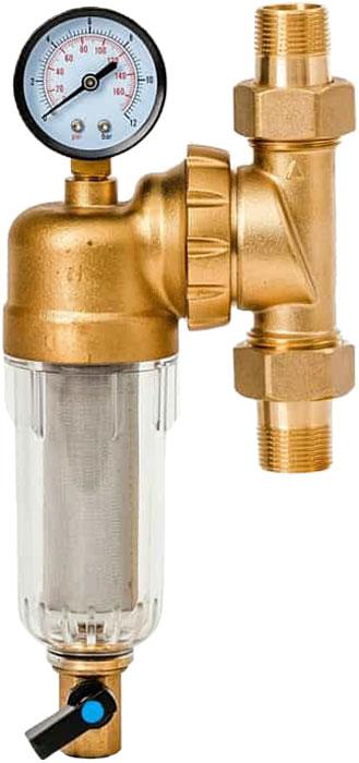 """Магистральный фильтр """"Гейзер Бастион 7508095233"""" с манометром для холодной воды 3/4""""  Фильтр с манометром для предварительной очистки холодной воды от механических примесей - частиц ржавчины, волокон пеньки, песчинок, защиты сантехники, бытовой техники подключенной к водопроводу.  Фильтр имеет компактные размеры и спроектирован для монтажа в местах с ограниченным пространством. Специальный угол крепления корпуса позволяет его вращать, для удобного размещения фильтра в труднодоступных местах.  Изделие состоит из корпуса, манометра и промываемого картриджа. В обычном режиме вода проходит через сетчатый элемент к выпускному отверстию корпуса. Для осуществления промывки необходимо открыть шаровой клапан, выпускающий скопившиеся на дне чаши фильтра примеси; подача воды при этом не прерывается. Удобство слежения за степенью загрязнения фильтра обеспечивается прозрачностью его корпуса. Фильтр имеет большой запас прочности по максимальному рабочему давлению.  Сменная фильтрующая сетка изготовлена из нержавеющей стали и, при необходимости, заменяется на другую без демонтажа фильтра. В комплекте подключения имеется американка и фитинг 3/8 JG.  Технические характеристики:  Тип соединений: наружные резьбовые Присоединительный размер: 3/4"""" Диаметр фильтра:60 мм Обратная промывка: нет Наличие манометра: есть Наличие редуктор давления: нет Наличие компенсатора: нет Пористость фильтра: 90 мкм. Рабочее давление: до 16 атм. Температура очищаемой воды: до 30 С Материал чаши фильтра: латунь Материал корпуса: ударопрочный прозрачный синтетический материал."""