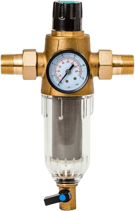 Предфильтр Гейзер Бастион 7508165233, с обратной промывкой и манометром, для холодной воды 1/232680Магистральный фильтр Гейзер Бастион 7508075233 с обратной промывкой и манометром для холодной воды 1/2Фильтр с обратной промывкой и манометром для предварительной очистки холодной воды от механических примесей - частиц ржавчины, волокон пеньки, песчинок, защиты сантехники, бытовой техники подключенной к водопроводу.Фильтр имеет компактные размеры и спроектирован для монтажа в местах с ограниченным пространством; устанавливается на горизонтальном трубопроводе чашей вниз. Система обратной промывки позволяет очищать сменный модуль входным потоком воды.Изделие состоит из корпуса, манометра и промываемого картриджа. В обычном режиме вода проходит через сетчатый элемент к выпускному отверстию корпуса. Удобство слежения за степенью загрязнения фильтра обеспечивается прозрачностью его корпуса. Фильтр имеет большой запас прочности по максимальному рабочему давлению.Сменная фильтрующая сетка изготовлена из нержавеющей стали и, при необходимости, заменяется на другую без демонтажа фильтра. В комплекте подключения имеется американка и фитинг 3/8 JG.Технические характеристики: Тип соединений: наружные резьбовые Присоединительный размер: 1/2 Диаметр фильтра: 65 мм Обратная промывка: есть Наличие манометра: есть Наличие редуктора давления: нет Наличие компенсатора: нет Пористость фильтра: 90 мкм. Рабочее давление: до 16 атм. Температура очищаемой воды: до 30 С Материал чаши фильтра: латунь Материал корпуса: ударопрочный прозрачный синтетический материал.