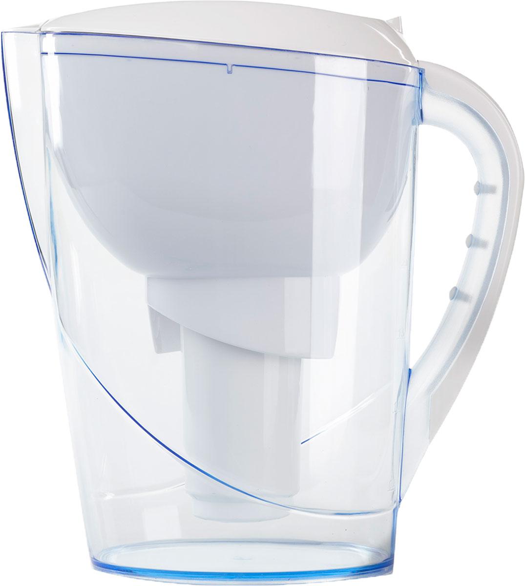 """Фильтр-кувшин для очистки водопроводной и скважиной воды. Кувшин выполнен из высококачественного немецкого пищевого пластика. В крышке фильтра имеется специальный клапан, с помощью которого можно заливать воду, не снимая крышки. Нескользящая ручка позволяет удобно держать кувшин. В комплект Гейзер """"Аквариус"""" входит картридж 501 для фильтра-кувшина, состоящий из уникального материала каталон, ионообменной смолы и кокосового угля. Удаляет ржавчину, растворенное железо, органические соединения, тяжёлые металлы, хлор и др. виды примесей. Содержит активное серебро в несмываемой форме, которое блокирует размножение бактерий. Картридж вкручивается в приемную воронку кувшина, обеспечивая герметичное соединение, что позволяет исключить протечку исходной воды в отфильтрованную.   Преимущества Фильтра-кувшина Гейзер """"Аквариус"""":  - Картридж с материалом каталон (100 % защита от вирусов).  - Специальный клапан для заливки воды.  - Нескользящая ручка и сбалансированный центр тяжести.  - Механический индикатор ресурса.   В комплекте: картридж Гейзер 501. Ресурс: 300 литров.   Дополнительная информация:  Общий объем кувшина: 3,7 л.  Объем приемной воронки: 1,4 л.  Полезный объем: 2 л.  Ресурс: 300 л.  Температура очищаемой воды: до +40 °С.  Скорость очистки: от 0,4 до 0,2 л/мин."""