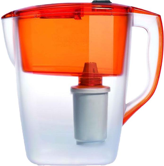 Фильтр-кувшин Гейзер Геркулес, цвет: оранжевый, 4 л62043_оранжевыйФильтр-кувшин Гейзер Геркулес оптимален для семьи из трех и более человек. Оснащен механическим индикатором ресурса, который укажет, когда необходимо заменить картридж. Гейзер Геркулес используется для очистки холодной водопроводной и скважинной воды от ржавчины, растворенного железа, тяжелых металлов, хлора, органических соединений и других примесей. Улучшает вкус и цвет воды, а также устраняет неприятные запахи. Содержит активное серебро в несмываемой форме, которое блокирует размножение бактерий. В комплект Гейзер Геркулес входит картридж 501 для фильтра-кувшина, состоящий из уникального материала каталон, ионообменной смолы и кокосового угля. Картридж вкручивается в приемную воронку кувшина, обеспечивая герметичное соединение, что позволяет исключить протечку исходной воды. В комплекте картридж Гейзер 501. Ресурс: 350 литров. Дополнительная информация:Объем кувшина: 4 л Объем приемной воронки: 2 л Полезный объем: 2 л Температура очищаемой воды: до +40 °С. Скорость очистки: от 0,4 до 0,2 л/мин. Ресурс картриджа: 350 л.