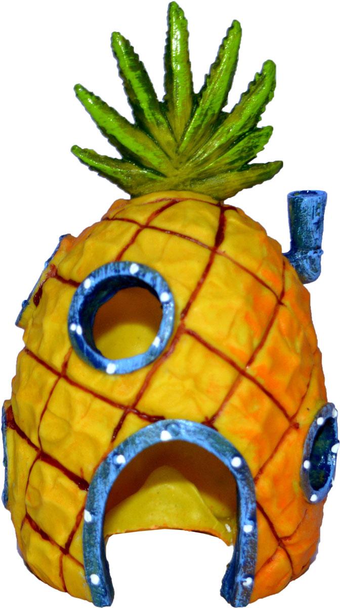 Декорация для аквариума Penn-Plax Домик Губки Боба, 16,5 см декорация для аквариума penn plax племя тики 15 см