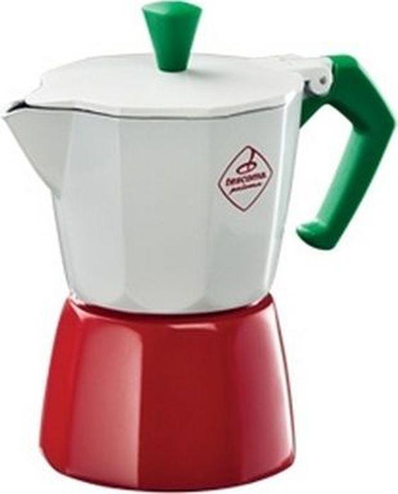 Кофеварка гейзерная Tescoma Paloma Tricolore, на 3 чашки, цвет: белый, красный