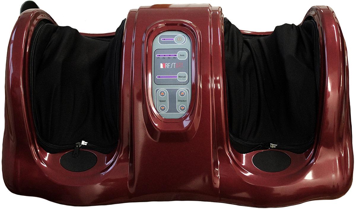 RestArt Массажер для ног (стоп и лодыжек) роликовый Bliss с пультом ДУ, тонизирующий массаж, цвет: красныйRA-341 redТонизирует мышцы ног, эффективно снимает усталость. Массажер оснащен несколькими видами автоматических программ (время), а также имеет возможность ручного выбора интенсивности и направления вращения массажных роликов. Удобно применять лежа с помощью пульта ДУ. Снабжен автоматическим отключением и режимом паузы. Что дает массажер? Избавление от усталости ног с помощью роликового массажа; Улучшение кровообращения и общего тонуса стоп; Расслабление после напряжения; Моментальный эффект.