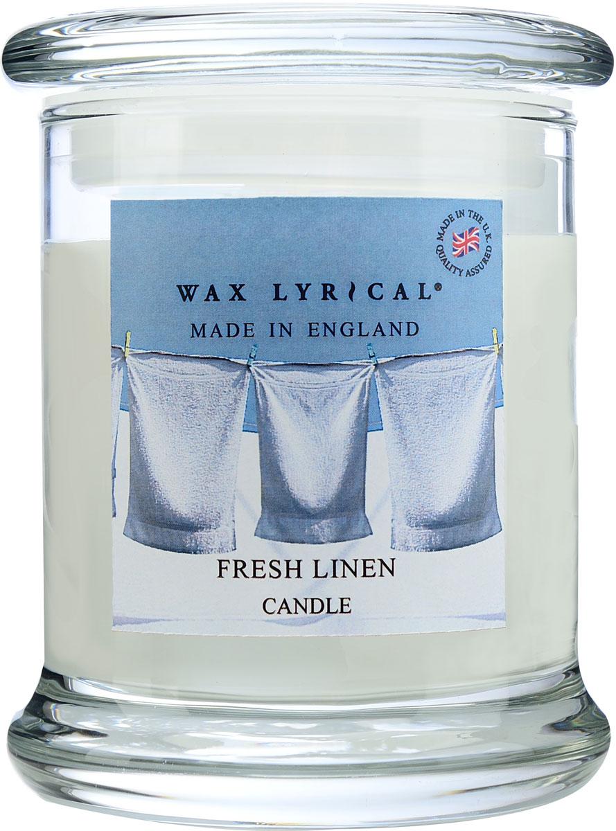 """Свеча ароматическая Wax Lyrical """"Лен. Сделано в Англии"""" в стекле.  Аромат свежевыстиранного белья, смешанный с нотами листьев фиалки, цветами лилии и сирени.  В основу композиции положены аккорды кедра, бобов тонка и мускуса.  Как пользоваться свечами? Перед каждым зажжением свечи подрезайте фитиль, его оптимальная высота 5-6 мм; при первом зажигании, дайте поверхности свечи полностью расплавиться; ставьте зажженную свечу на ровную поверхность."""