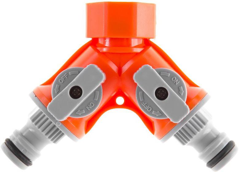 Соединитель Hammer Flex 236-015 двухканальный является составной частью системы полива и предназначен для разветвления подачи воды в кране при орошении растений. Соединяется с водопроводным краном внутренней резьбой G3/4