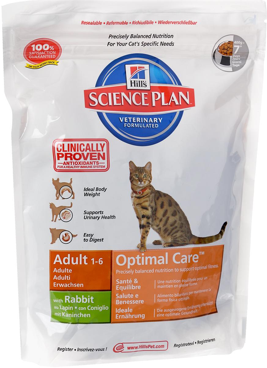 Корм сухой Hills Optimal Care для взрослых кошек, с кроликом, 400 г5203Сухой корм Hills Science Plan Optimal Care предназначен для взрослых кошек от 1 года до 6 лет. Это полноценное, точно сбалансированное питание, приготовленное из ингредиентов высокого качества, без добавления красителей и консервантов. Рацион Science Plan содержит эксклюзивный комплекс антиоксидантов с клинически подтвержденным эффектом, протеины и обогащен Омега-3 жирными кислотами для поддержки иммунной системы вашего питомца. Корм Science Plan Feline Adult разработан для удовлетворения всех потребностей организма взрослой кошки от момента достижения зрелости (12 месяцев) до 6 лет. Корм предотвращает появление симптомов заболеваний мочевыводящих путей у кошек. Содержит улучшенную Антиоксидантную Формулу для снижения окислительных повреждений клеток.Ключевые преимущества:Поддерживает мускулатуру и оптимальный вес.Контролируемый уровень минералов для здоровья нижних мочевыводящих путей.Высоко перевариваемые ингредиенты для легкости пищеварения.100% гарантия качества, консистенции и вкуса.Состав: минимум 7% мяса кролика, мука из мяса домашней птицы, молотая кукуруза, молотый рис, животный жир, мука из маисового глютена, мука из мяса кролика, гидролизат белка, сухая свекольная пульпа, калия хлорид, рыбий жир, кальция сульфат, соль, таурин, L-лизина гидрохлорид, L-триптофан, витамины и микроэлементы. Содержит натуральные консерванты - смесь токоферолов, лимонную кислоту и экстракт розмарина. Среднее содержание нутриентов: бета-каротин 1,5 мг/кг, витамин А 6140 МЕ/кг, витамин С 70 мг/кг, витамин D 590 МЕ/кг, витамин Е 650 мг/кг, влага 5,5%, жиры 20,4%, калий 0,72%, кальций 0,92%, клетчатка 1,2%, магний 0,07%, натрий 0,35%, омега-3 жирные кислоты 0,4%, омега-6 жирные кислоты 3,17%, протеин 32,3%, таурин 1915 мг/кг, углеводы 34,8%, фосфор 0,75%. Энергетическая ценность: 409 Ккал/100 г.Товар сертифицирован. Уважаемые клиенты! Обращаем ваше внимание на то, что упаковка может иметь несколько видов дизайна