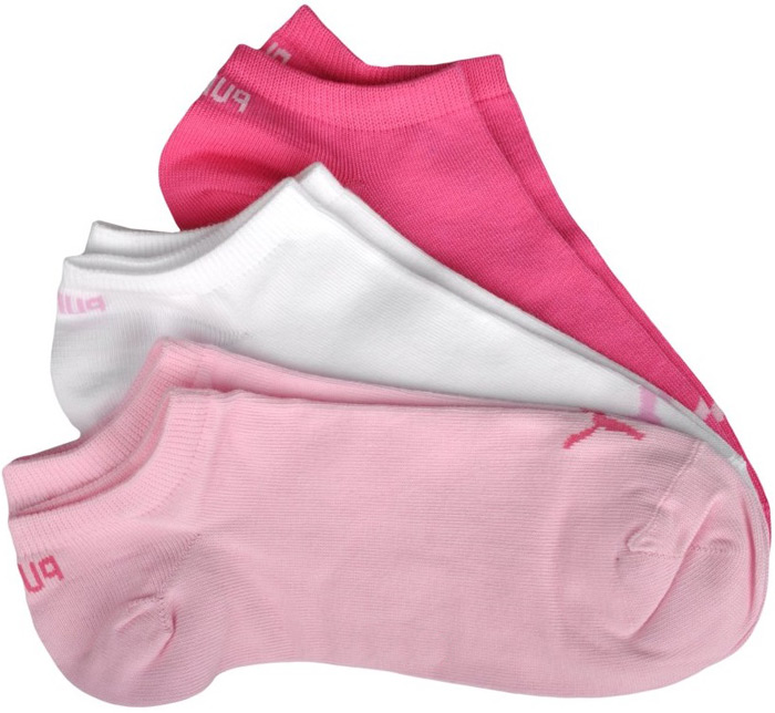 Носки женские Puma Sneaker Plain, цвет: белый, розовый, 3 пары. 90680704. Размер 39/4290680704Носки Puma Unisex Sneaker Plain 3p, выполненные из высококачественного материала, облегают стопу и обеспечивают воздухопроницаемость и плотную комфортную посадку. Модель с укороченным поголенком. В комплект входит 3 пары носков.