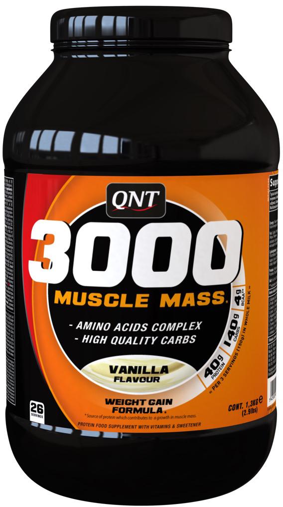 Белково-углеводная смесь QNT 3000 Muscle Mass, ваниль, 1,3 кг аминокислоты qnt amino acid 3000 мг 100 таблеток