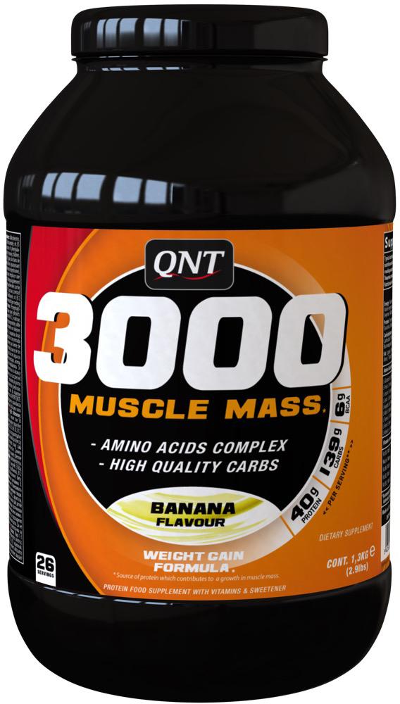Белково-углеводная смесь QNT 3000 Muscle Mass, банан, 1,3 кг протеин qnt белковая смесь easy body protein банан клубника 350 г