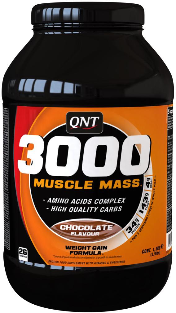 Белково-углеводная смесь QNT 3000 Muscle Mass, шоколад, 1,3 кг аминокислоты qnt amino acid 3000 мг 100 таблеток