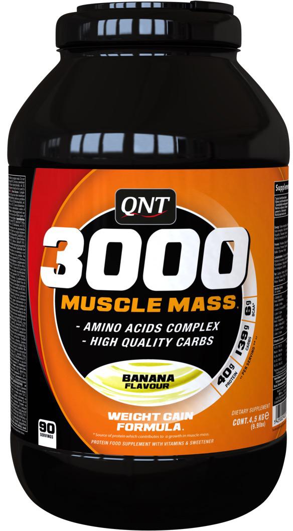 Белково-углеводная смесь QNT  3000 Muscle Mass , банан, 4,5 кг - Гейнеры