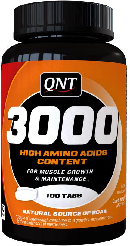 QNT Аминокислоты 3000, 100 таблетокQNT0945В совокупности с занятиями спортом, Amino Acids 3000 идеальное средство для безупречной мускулатуры. Полученные из молочного альбумина, они состоят из 20-и аминокислот, включая аминокислоты с разветвленными цепями. Amino Acids 3000 гарантирует спортсменам безупречный баланс незаменимых аминокислот.Состав:Мальтодекстрин, декстроза, концентрат сывороточного протеина, ароматизатор, агент для загустителя E412, фруктоза, подсластитель E951, витамины: В12, В2, В6, В5, В3. Содержит источник фенилаланина. Содержит молоко (включая лактозу).
