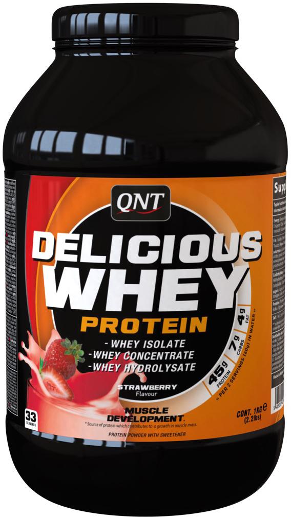 QNT Протеин сыворотки Delicious, малина, 1 кг аминокислоты qnt amino acid 3000 мг 100 таблеток