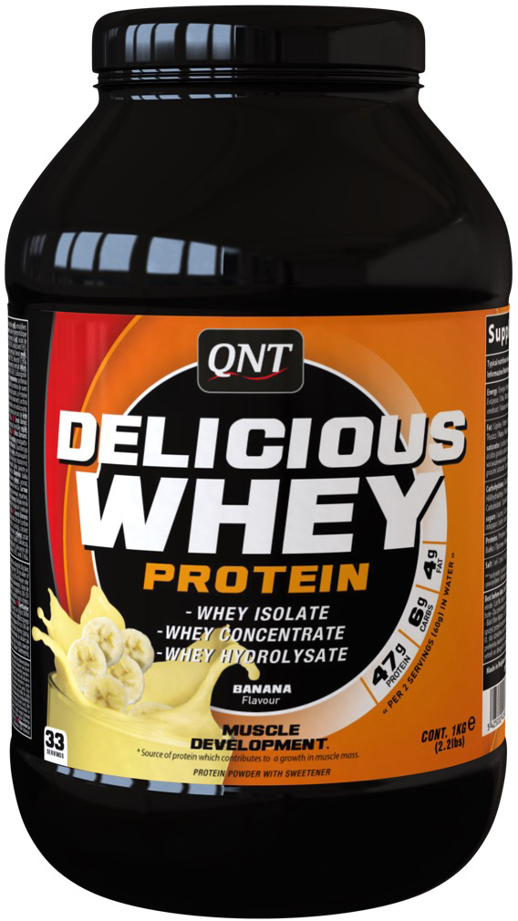 Сывороточный протеин QNT Delicious Whey Protein, вкус: банан, 2,2 кг протеин prime kraft whey клубника банан