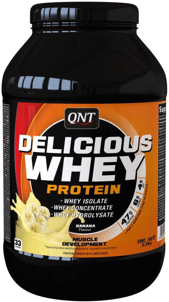 Сывороточный протеин QNT Delicious Whey Protein, вкус: банан, 2,2 кг протеин qnt белковая смесь easy body protein банан клубника 350 г